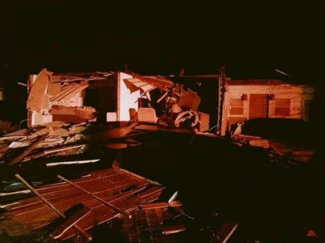 PHOTO: A home was ripped apart by a suspect tornado in Taylorsville, Ill., on Saturday, Dec. 1, 2018. The homeowners were able to escape.
