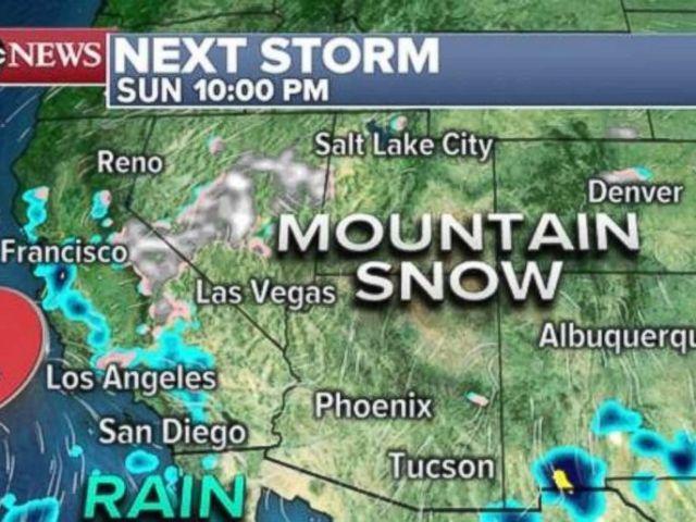 PHOTO: Rain will move onto the California coast line on Sunday night.