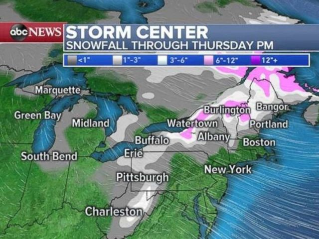 Much of the Northeast will see snowfall through Thursday evening.