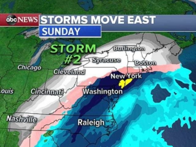 The second storm should slam the Northeast Saturday night and into Sunday.