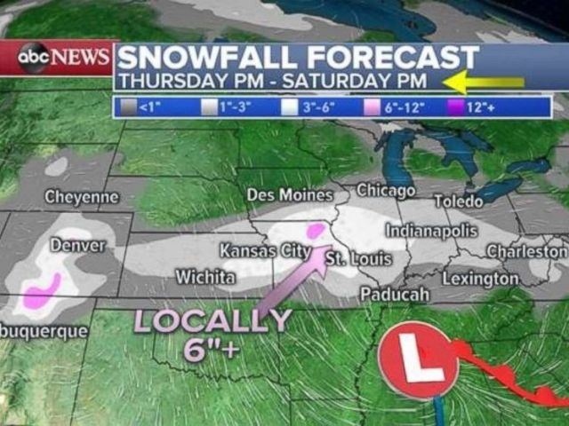 Parts of the upper Midwest will see significant snowfall through Saturday.