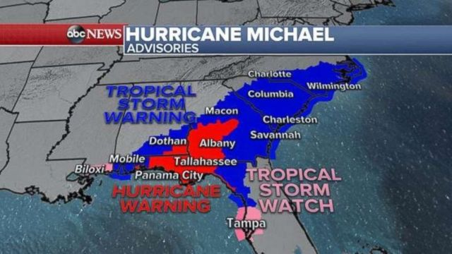 PHOTO: Hurricane Michael advisories, Oct. 10, 2018.