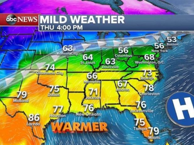 The Southeast will see warmer temperatures by Thursday afternoon.