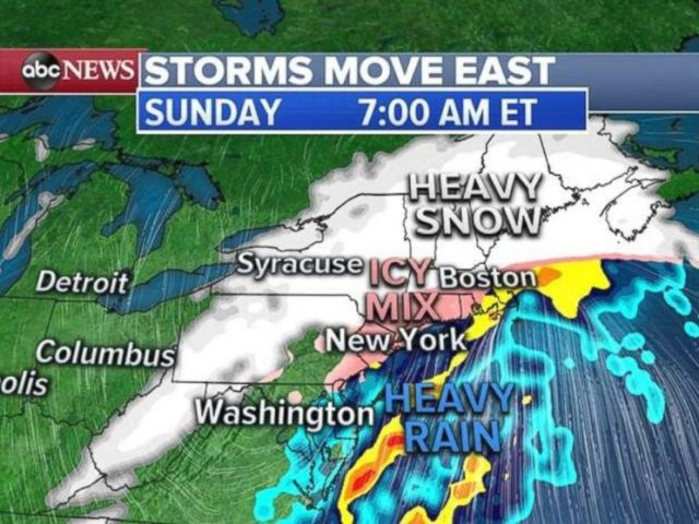 Heavy snow is expected Sunday morning in the Northeast.