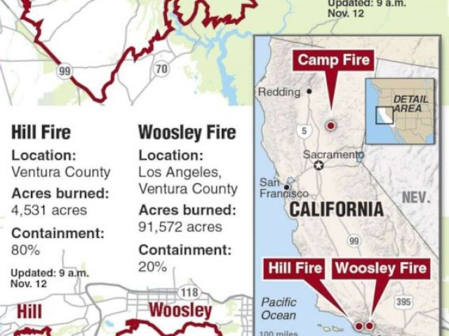 PHOTO: A locator map of the California wildfires distributed by Newscom, Nov. 11, 2018.