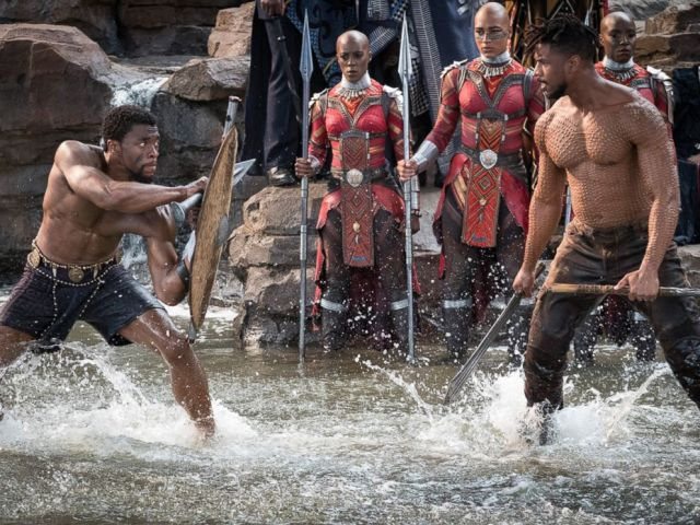 PHOTO: Chadwick Boseman and Michael B. Jordan in a scene from Black Panther, 2018.