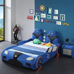 blue leather children racing car shape kids sports kids car bed for boys bedroom furniture