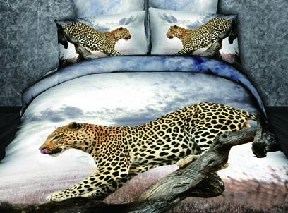 New Arrival 100% Cotton Vivid Leopard on the Tree Print 4 Piece Bedding Sets