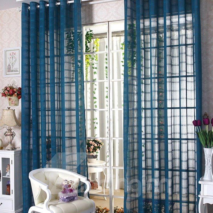 Elegant Contemporary Indigo Blue Custom Sheer Curtain