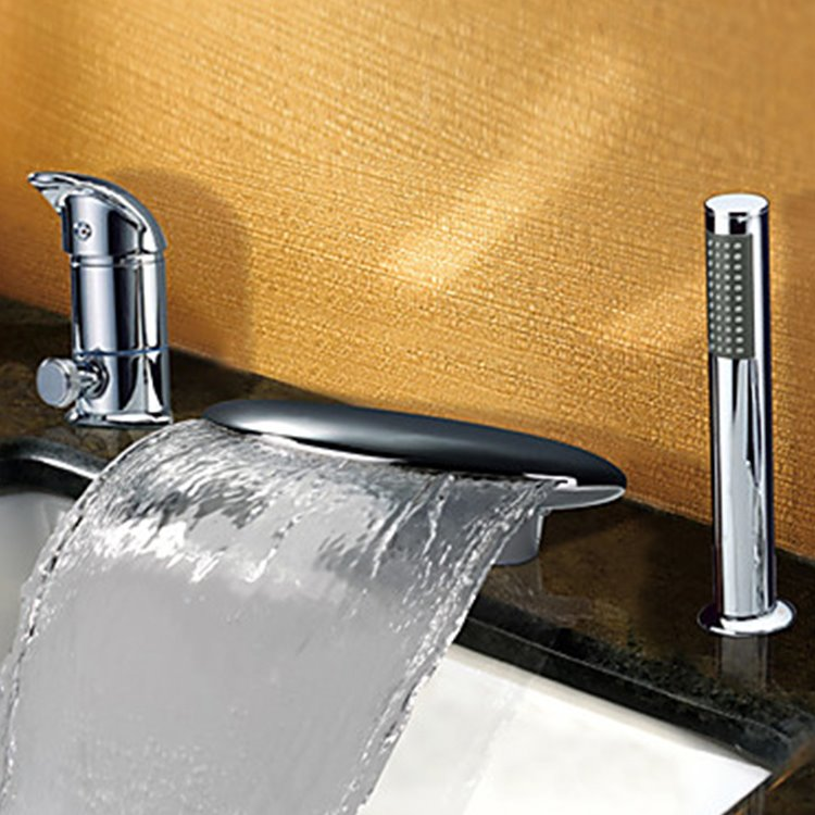 Fancy Contemporary Widespread Waterfall Two Handles