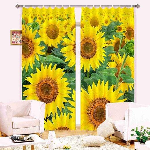 Amazing 3D Sunflower Polyester Light Blocking Curtain