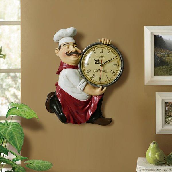 European Style Resin Chef Design Home Decorative Wall Clock