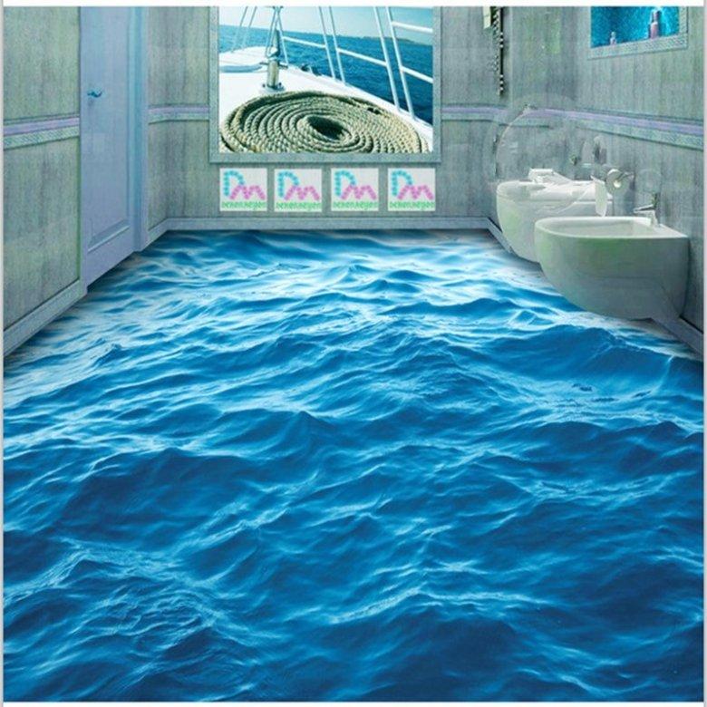 Blue Vivid Sea Wave Pattern Home Decorative Splicing Waterproof 3D Floor Murals