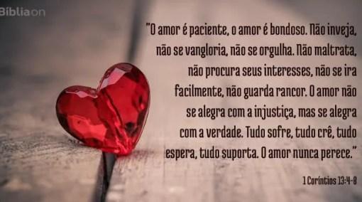 """""""O amor é paciente, o amor é bondoso. Não inveja, não se vangloria, não se orgulha. Não maltrata, não procura seus interesses, não se ira facilmente, não guarda rancor. O amor não se alegra com a injustiça, mas se alegra com a verdade. Tudo sofre, tudo crê, tudo espera, tudo suporta. O amor nunca perece."""" 1 Coríntios 13:4-8"""