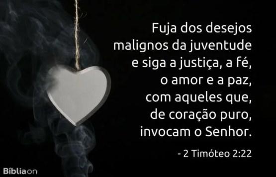 Fuja dos desejos malignos da juventude e siga a justiça, a fé, o amor e a paz, com aqueles que, de coração puro, invocam o Senhor. 2 Timóteo 2:22