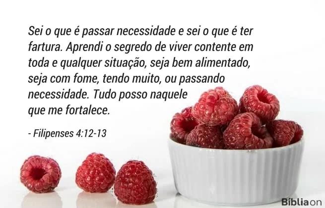 Sei o que é passar necessidade e sei o que é ter fartura. Aprendi o segredo de viver contente em toda e qualquer situação, seja bem alimentado, seja com fome, tendo muito, ou passando necessidade. Tudo posso naquele que me fortalece. Filipenses 4:12-13
