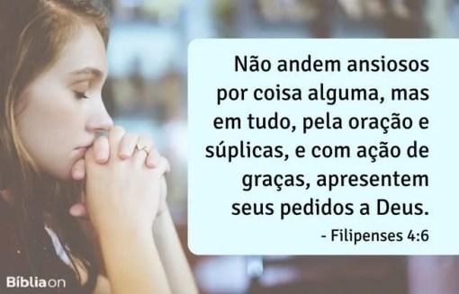 Não andem ansiosos por coisa alguma, mas em tudo, pela oração e súplicas, e com ação de graças, apresentem seus pedidos a Deus. Filipenses 4:6