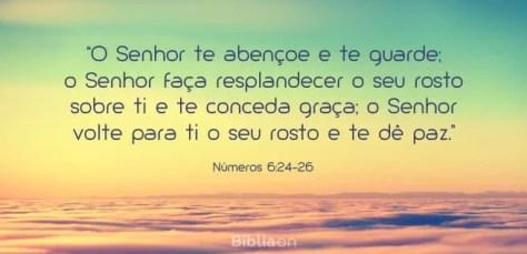 """""""O Senhor te abençoe e te guarde; o Senhor faça resplandecer o seu rosto sobre ti e te conceda graça; o Senhor volte para ti o seu rosto e te dê paz."""" Números 6:24-26"""
