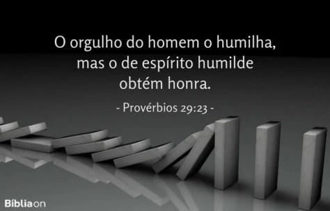 O orgulho do homem o humilha, mas o de espírito humilde obtém honra. Provérbios 29:23