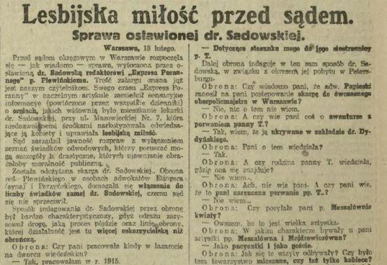 """Sprawa wytoczona przez Sadowską redaktorowi """"Kuriera Porannego"""" były szeroko opisywana przez prasę w całym kraju. Również krakowski """"Ikac"""" nie omieszkał o niej napisać (źródło: domena publiczna)."""