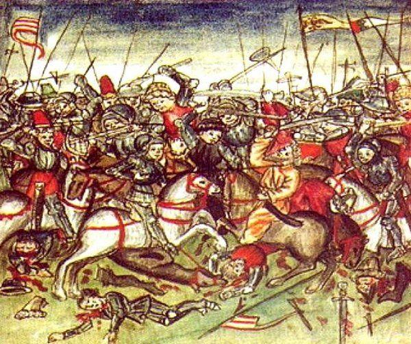 Otto I mógł ruszyć na Stojgniewa, gdyż dopiero co rozgromił Madziarów nad rzeką Lech (bitwa na Lechowym Polu na ilustracji Hektora Mülicha z 1457 roku, źródło: domena publiczna).