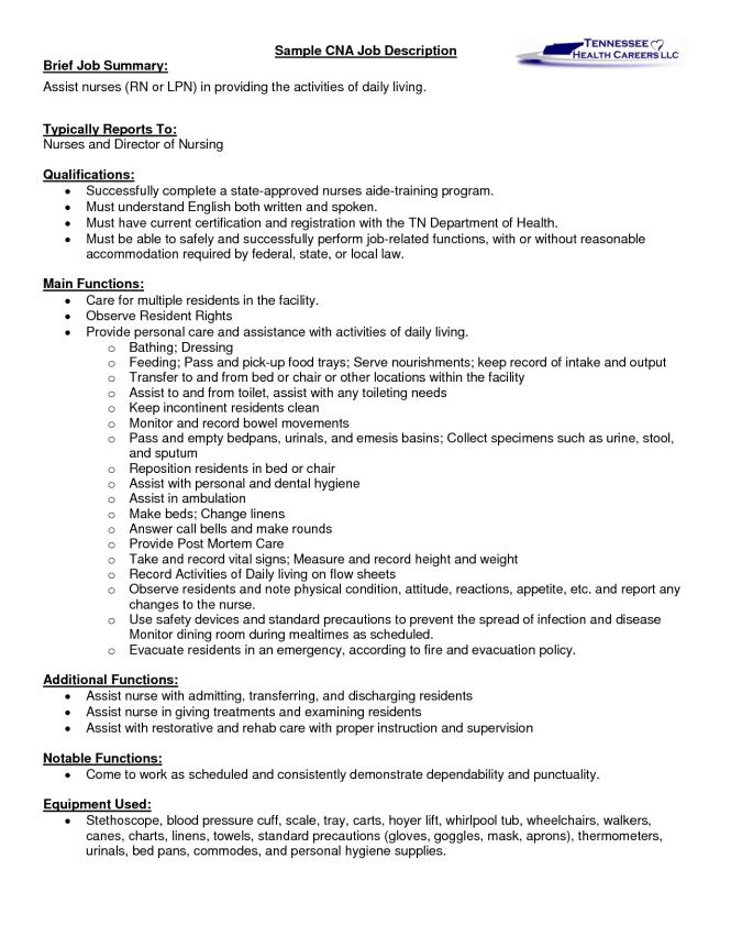 Cna Resume Description Resume Sample