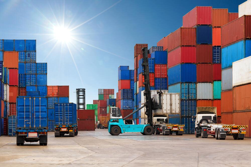 trucks loading in a port
