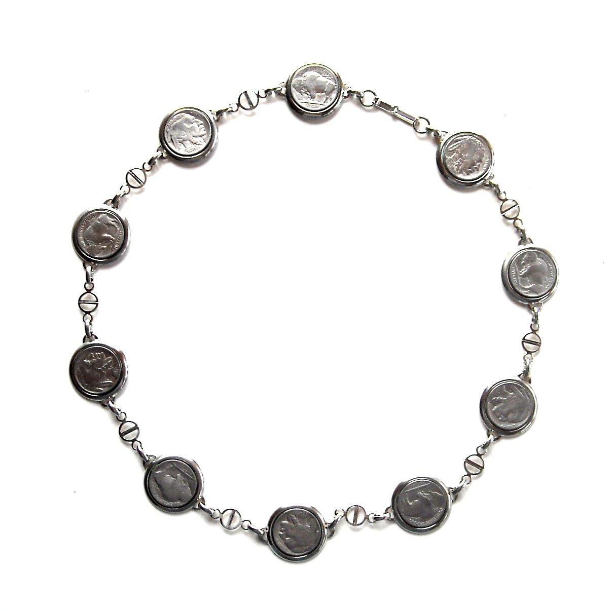 Genuine Indian Head Buffalo Nickel Coins Necklace