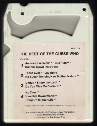 The Guess Who - The Best Of The Guess Who 1971 RCA A18A 8-TRACK TAPE
