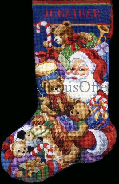 Rare Brackenbury Artwork Santa Claus And Toys Needlepoint