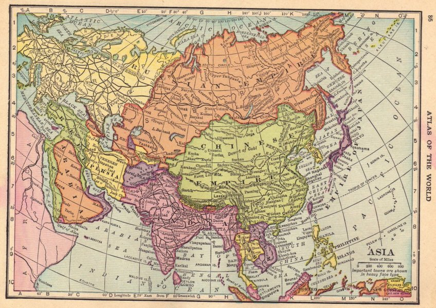 Map of Asia  Full Color  C S  Hammond Atlas c 1910