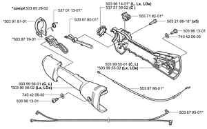 Husqvarna 503878601 = 544171701 throttle cable trimmer