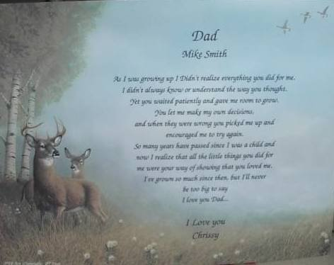 Dad Poem Personalized On Deer Background Paper Free Shipping