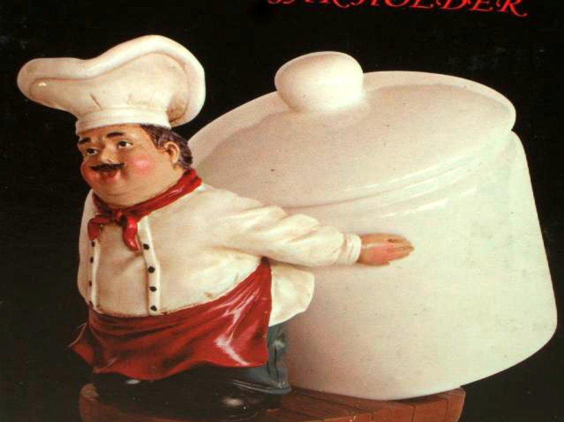 Fat Italian Chef Coffee Canister Jar Holder Figurine