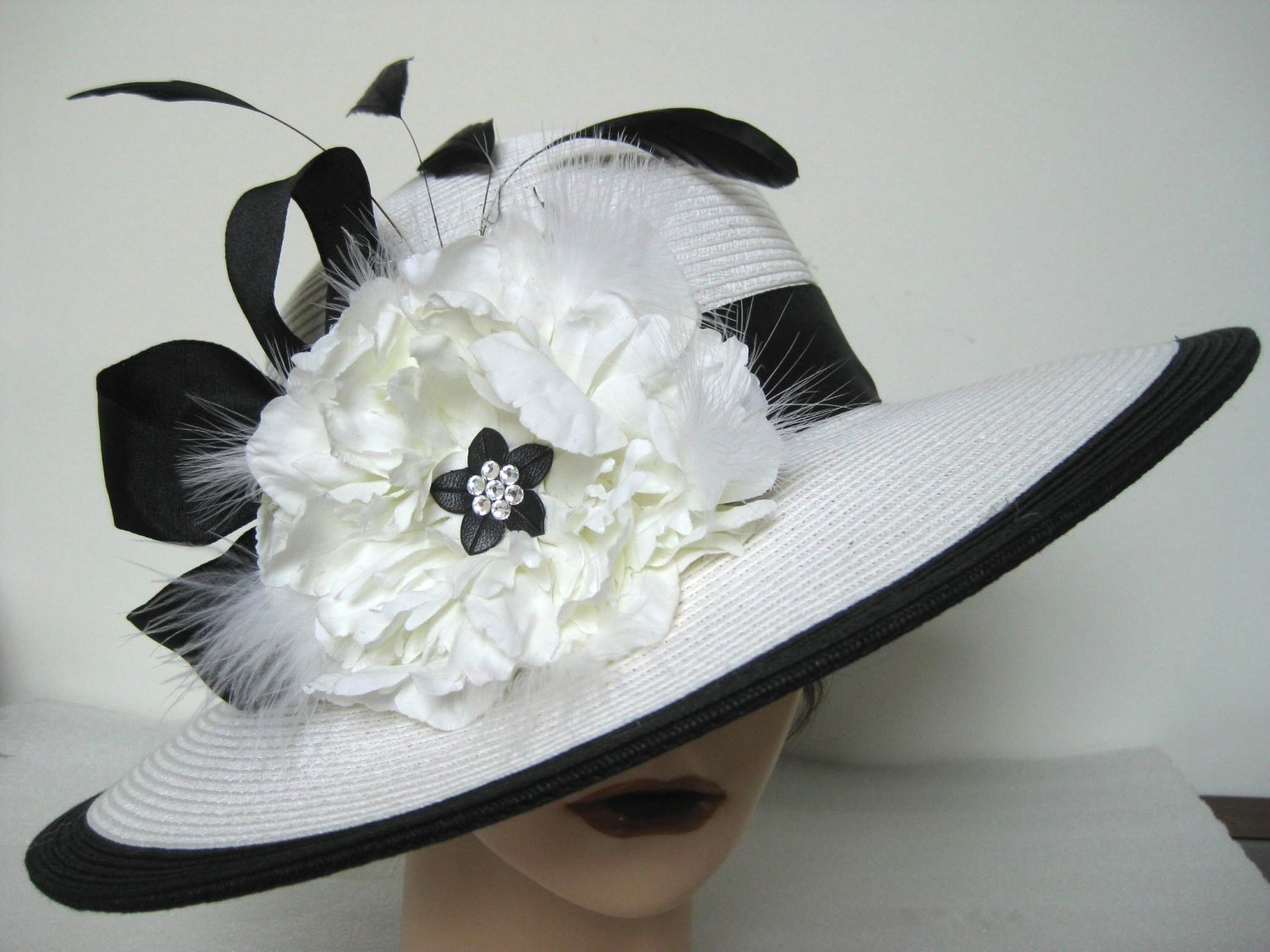 White Black Kentucky Derby Church Dress Wide Brim Hat