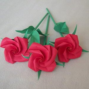Origami flowers with stems origami tutorial lets make it origami rose short stem paper fold craft gift red mightylinksfo