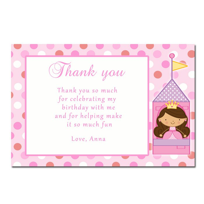 Printable Fairy Princess Thank You Cards Notes Birthday