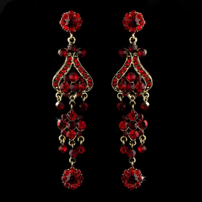 With Red Crystal Quinceanera Sweet 16 Or Prom Chandelier Earrings