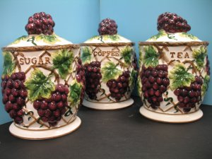 Pcs Grape Canister Set Kitchen Decor Vineyard Wine Home Storage