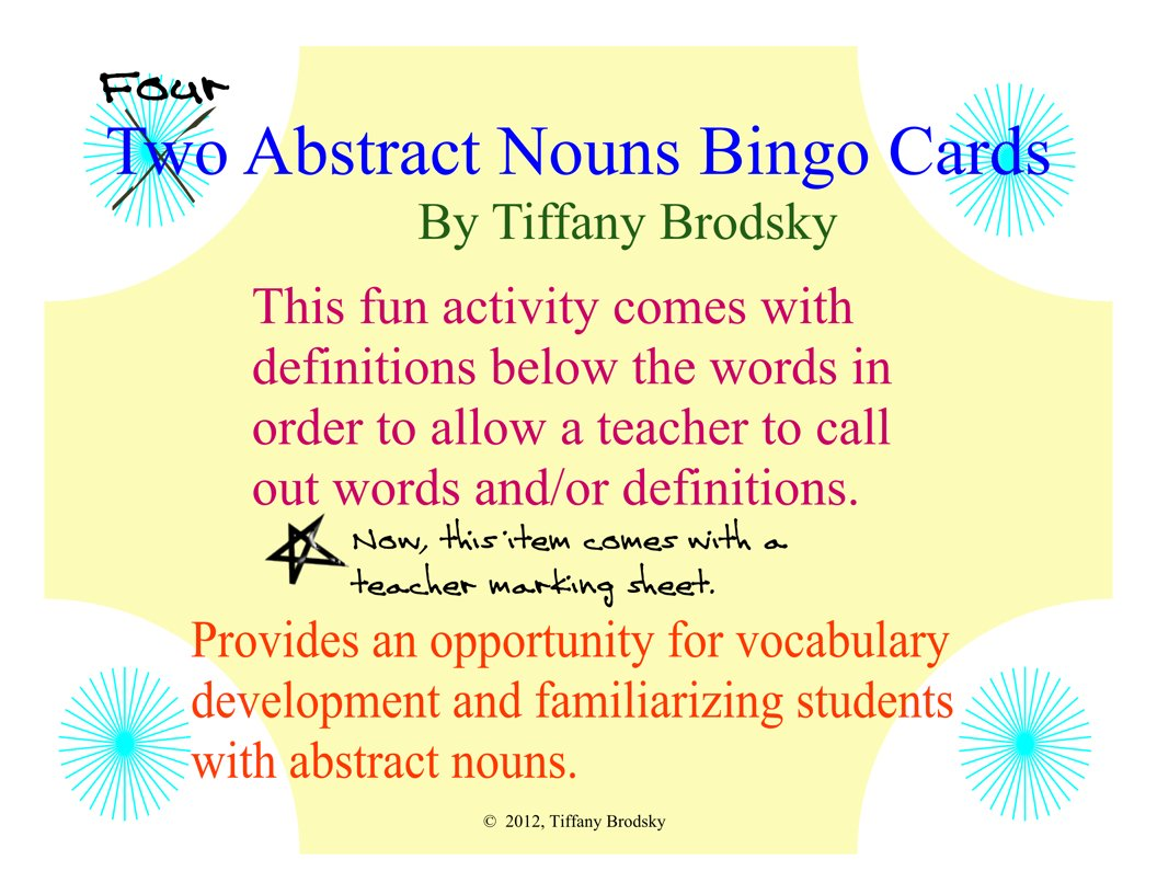 Abstract Noun Bingo Game Or Center Vocabulary Development Fun Activity To Print And Use