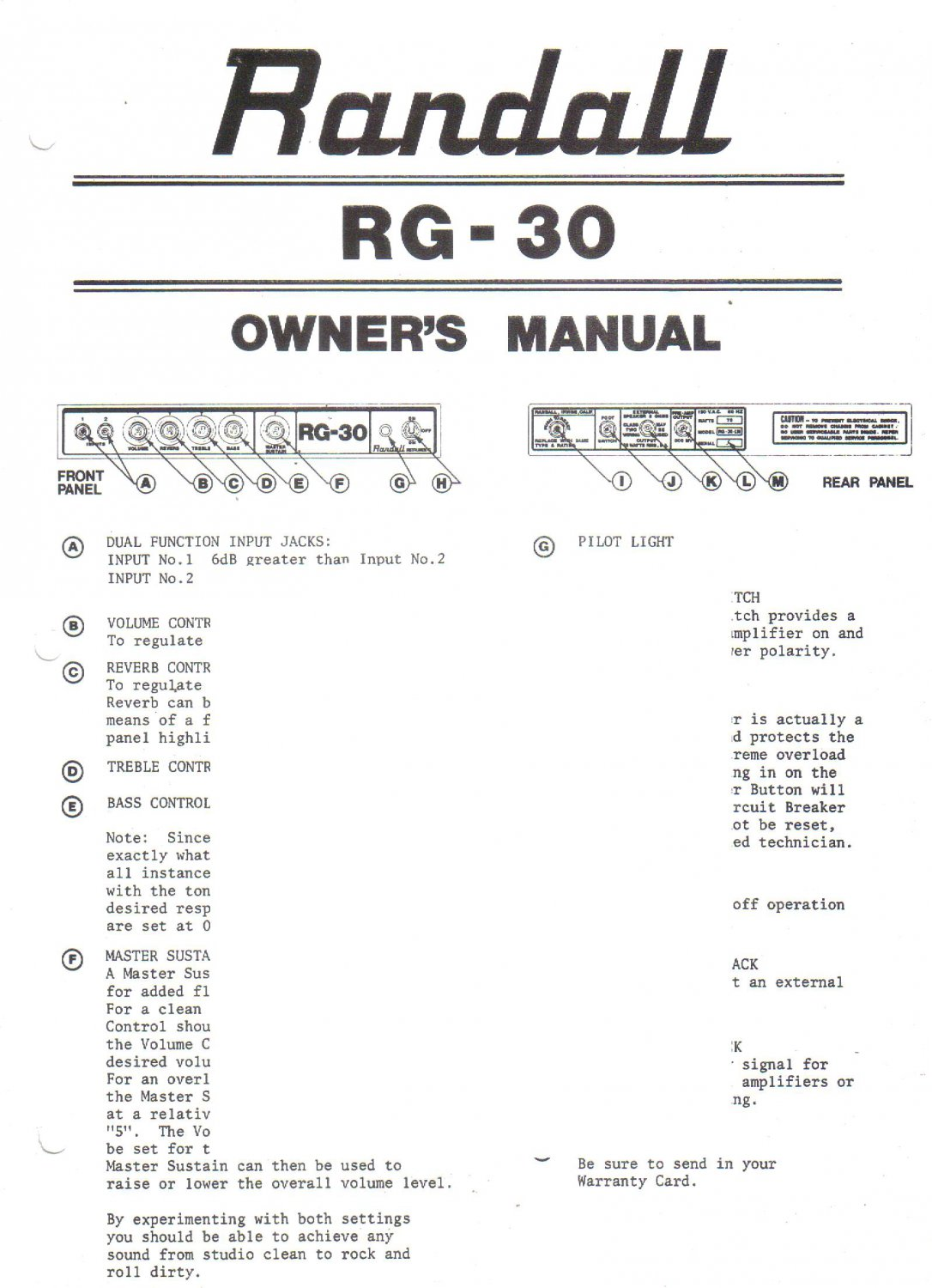 Randall Instruments Inc Owners Manual Schematic Rg 30 Amp