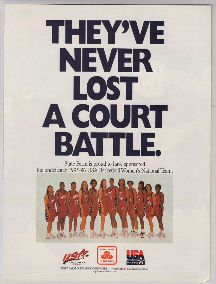 state farm 90s print ad usa basketball
