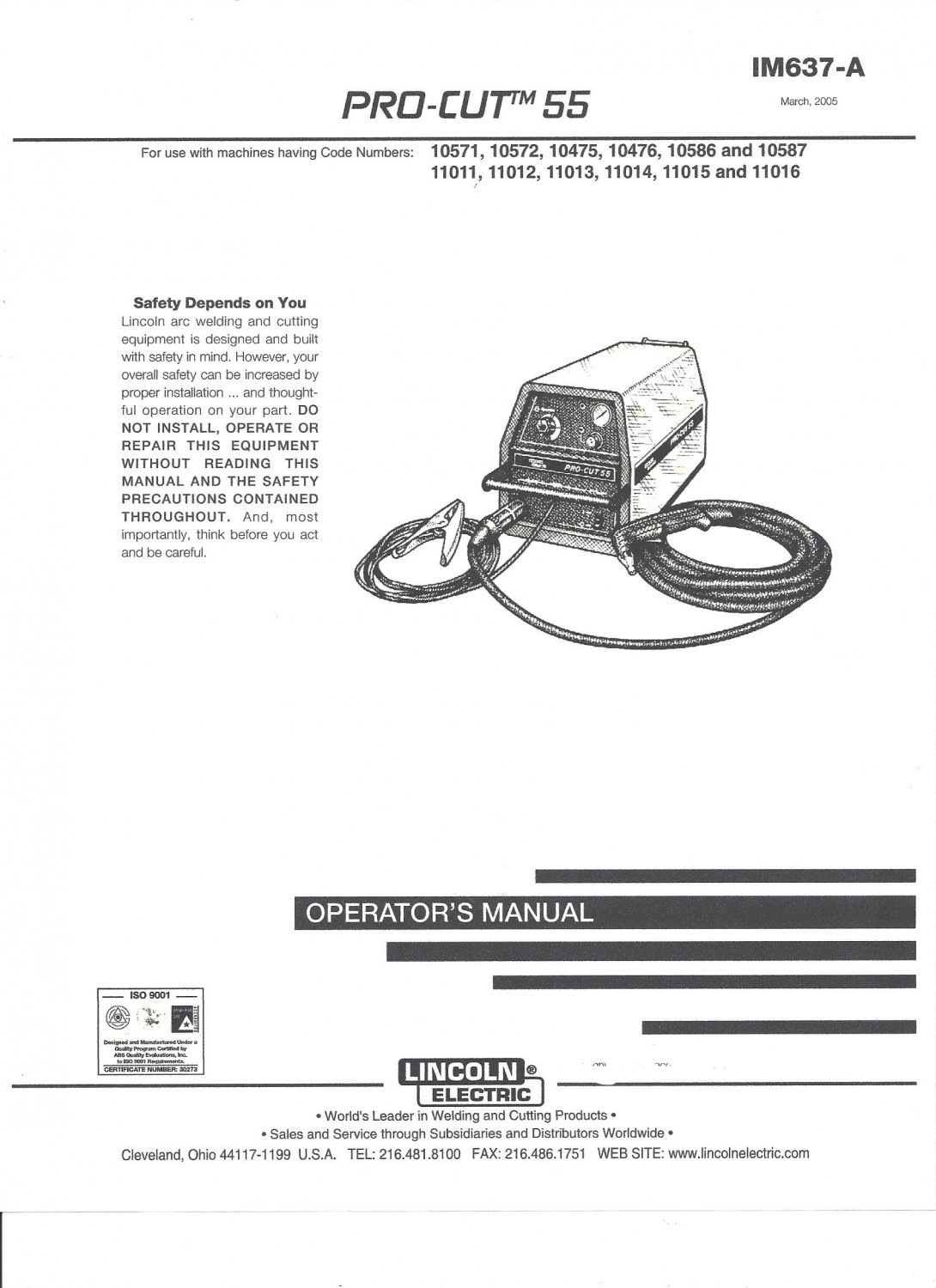 Lincoln Electric Pro Cut 55 Welder Operator S Manual Copy