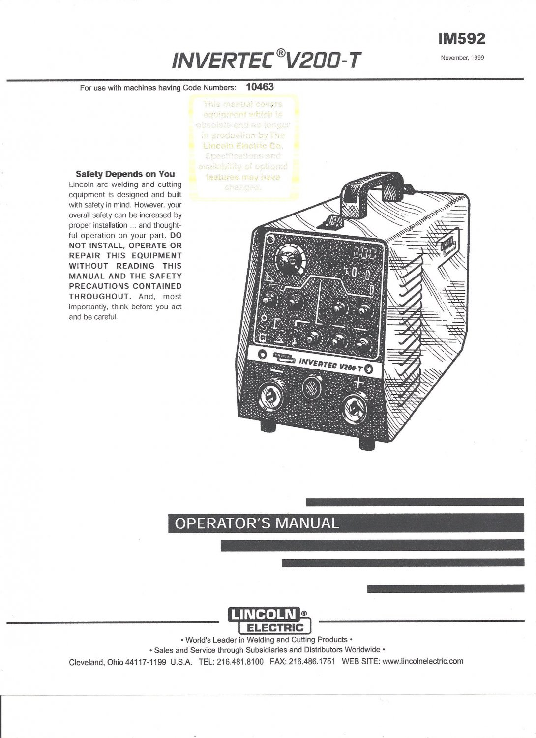 Lincoln Electric Invertec V200 T Welder Operator S Manual