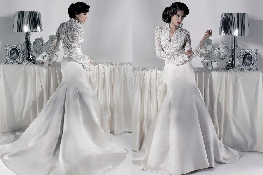 White Lace Satin Mermaid Bridal Gown V-neck Long Sleeves