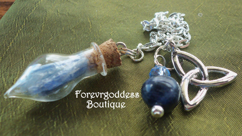 Blue Kyanite Glass Pendulum