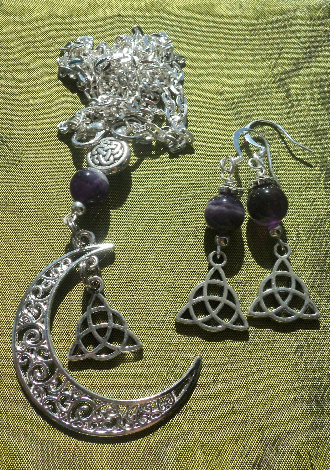 Amethyst Crescent Moon Necklace Set