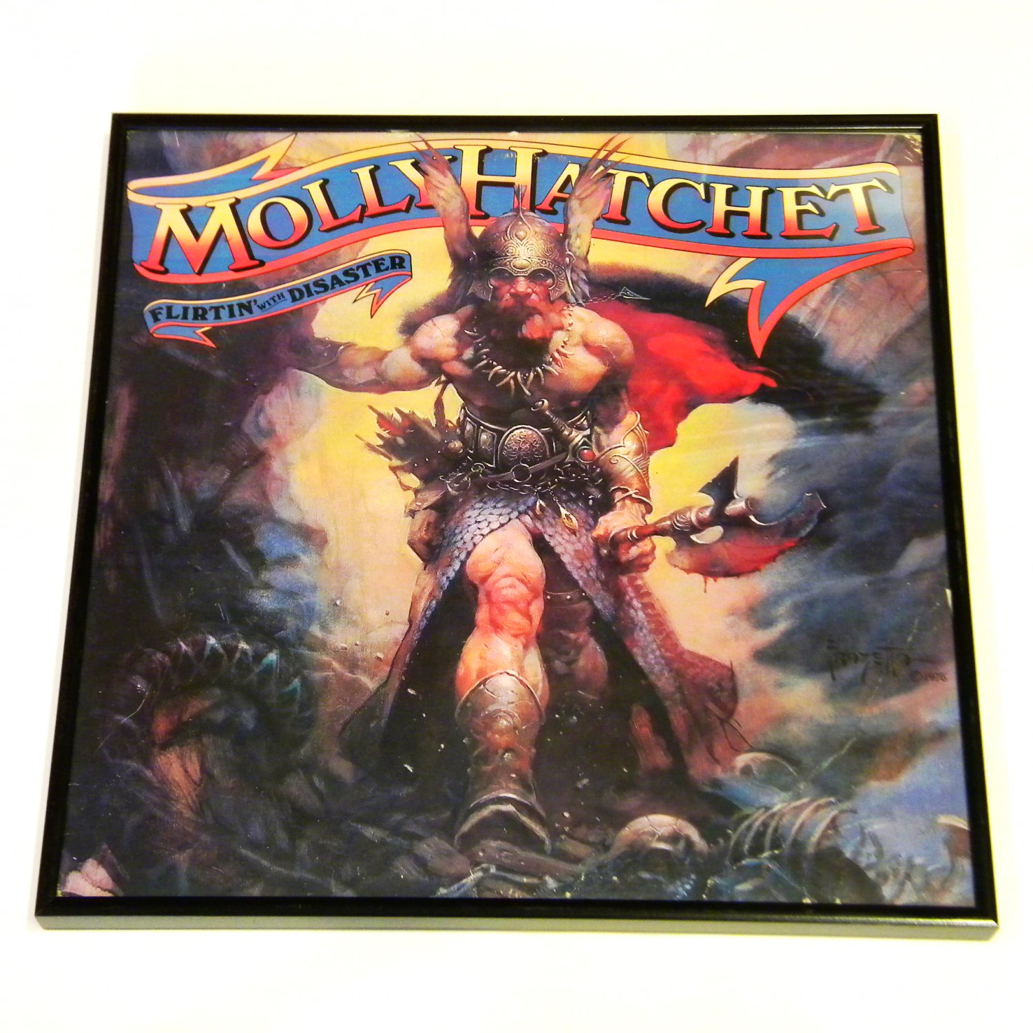 rainbow wall  molly hatchet  Flirtin With Disaster  Framed Record Album Cover - Vintage Record Album