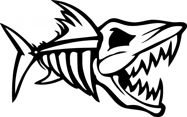 Nitro Fish Skeleton Fish Bones Skull Vinyl Decal Sticker