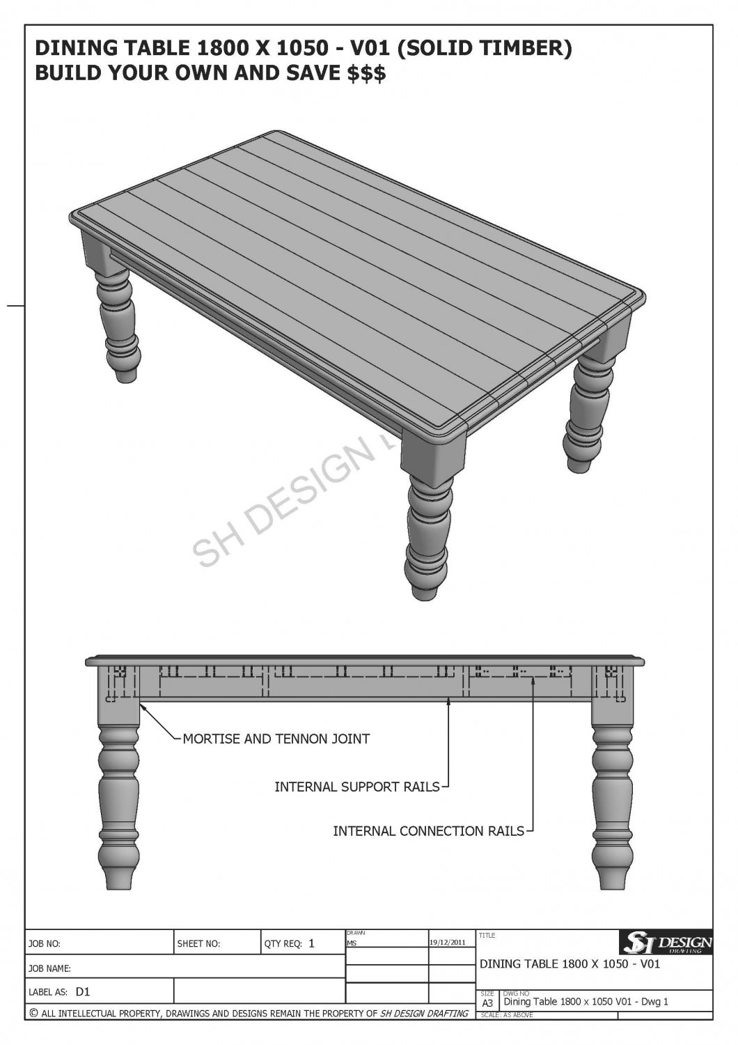 Solid Timber Dining Table X